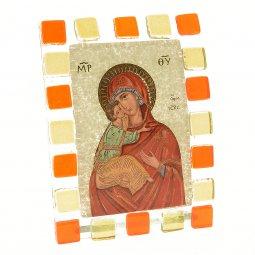 """Copertina di 'Quadretto in vetro ricurvo """"Madonna della tenerezza"""" - dimensioni 10x17 cm'"""