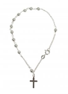 Copertina di 'Bracciale decina con grani tondi mm 4 legatura in argento 925'