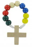 Rosario decina 10 grani in legno legatura seta mm 8 - missionario