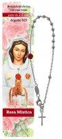 Bracciale rosario Maria rosa mistica con rosa rossa - diam. grani mm 2,5