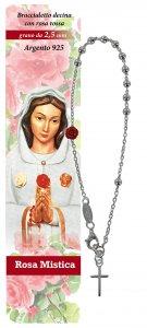 Copertina di 'Bracciale rosario Rosa Mistica in argento con 11 grani da 2,5 mm'