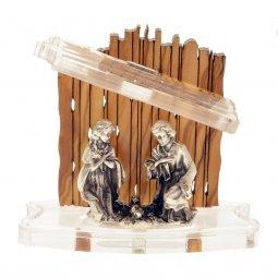 Copertina di 'Natività in metallo con capanna in legno d'ulivo e plexiglass - altezza 6,5 cm'