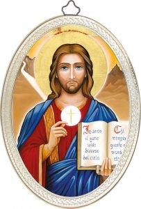 """Copertina di 'Icona ovale """"Io sono il pane vivo disceso dal cielo"""" - dimensioni 14,5x10,5 cm'"""