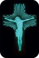 Immagine di 'Croce in legno grezzo con incisioni luminescenti - dimensioni 30x20 cm'