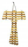 Immagine di 'Croce Tau da parete in ulivo cm 17 con preghiera Padre Nostro in catalano'