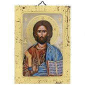 """Icona in legno a sbalzo con cornice dorata """"Cristo Pantocratore"""" - 14 x 10 cm"""