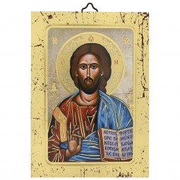 """Copertina di 'Icona a sbalzo con cornice dorata """"Cristo Pantocratore"""" - dimensioni 14x10 cm'"""