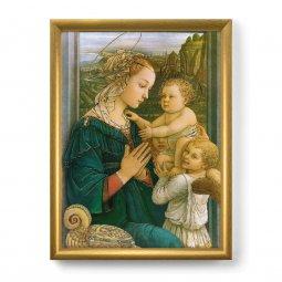 """Copertina di 'Quadro """"Madonna col Bambino e angeli"""" con lamina oro e cornice dorata - dimensioni 44x34 cm'"""