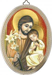 """Copertina di 'Icona ovale """"San Giuseppe con il Bambino"""" in stile bizantino - dimensioni 15x10 cm'"""
