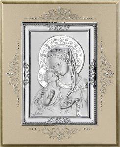 Copertina di 'Icona Madonna col Bambino in argento 925 e legno - 19,5 x 24 cm'
