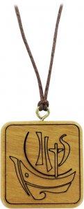 Copertina di 'Ciondolo Anno della Fede quadrato in legno d'ulivo con cordone - 3 cm'