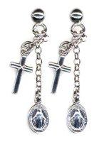 Orecchini in argento 925 con Medaglia Miracolosa e croce pendente