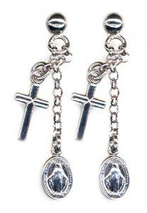 Copertina di 'Orecchini in argento 925 con Medaglia Miracolosa e croce pendente'