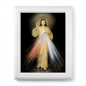 """Quadro """"Gesù Misericordioso"""" con lamina oro e cornice con decorazione a sbalzo"""