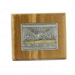 """Copertina di 'Quadretto in legno d'ulivo con placca argentata """"Ultima Cena"""" - dimensioni 7x8 cm'"""