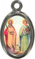 Medaglia Santi Cosma e Damiano in metallo nichelato e resina - 2,5 cm