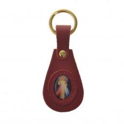 """Copertina di 'Portachiavi ovale in cuoio """"Gesù misericordioso"""" - colore rosso'"""