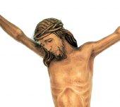 Immagine di 'Cristo intagliato in legno naturale patinato cm 40'