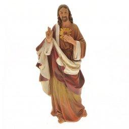 """Copertina di 'Statua in resina dipinta a mano """"Sacro Cuore di Gesù"""" - altezza 17 cm'"""