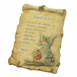 """Copertina di 'Tavoletta sagomata """"Angelo di Dio"""" - dimensioni 15x10 cm'"""