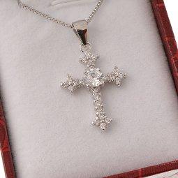 Copertina di 'Collana con croce barocca in strass e catenina in argento 925'