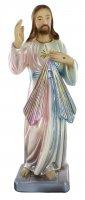 Statua Gesù Misericordioso in gesso madreperlato dipinta a mano - 20 cm