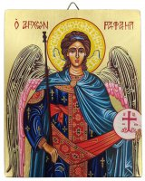 Icona Arcangelo Raffaele dipinta a mano su legno con fondo orocm 13x16