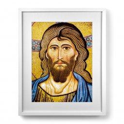 """Copertina di 'Quadro """"Cristo Pantocratore"""" con passe-partout e cornice minimal - dimensioni 53x43 cm'"""
