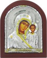 Icona Madonna Bambino con riza resinata color argento - 18 x 15 cm