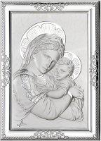 """Quadretto in argento con lastra incisa """"Madonna con Bambino"""" - cm 12x9"""