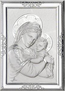 Copertina di 'Quadro Madonna col Bambino con lastra in argento 925 - Bassorilievo - 12 x 9 cm'