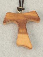 Croce tau in legno d'ulivo- altezza 3,8 cm