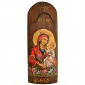 Icona in legno con Madonna della purezza in rilievo (h. 40 cm)