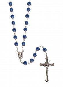 Copertina di 'Rosario in argento 925 con grani mm 6 in vetro blu con piccole rose'