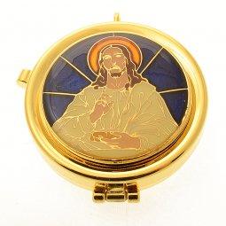 """Copertina di 'Teca eucaristica porta ostie dorata con coperchio smaltato """"Cristo benedicente"""" - diametro 5,3 cm'"""