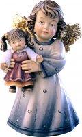 Statuina dell'angioletto con bambola, linea da 10 cm, in legno dipinto a mano, collezione Angeli Sissi - Demetz Deur