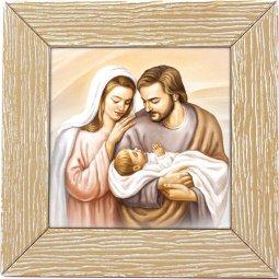 """Copertina di 'Quadretto in polimero effetto legno """"Sacra Famiglia"""" - dimensioni 11x11 cm'"""