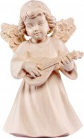 Statuina dell'angioletto con mandolino, linea da 10 cm, in legno naturale, collezione Angeli Sissi - Demetz Deur