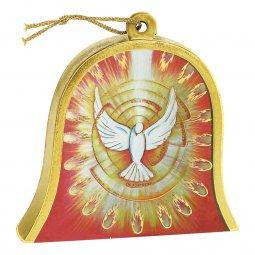 """Copertina di 'Icona in legno a campana """"Colomba dello Spirito Santo"""" - dimensioni 10x11 cm'"""