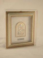 """Immagine di 'Quadretto di legno con placca in argento """"Sant'Antonio"""" - dimensioni 14,6x12,6 cm'"""