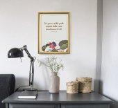 """Immagine di 'Quadro con citazione """"Un giorno dalle spalle piegate"""" su cornice dorata - dimensioni 44x34 cm'"""