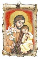 """Tavoletta sagomata """"San Giuseppe con il Bambino"""" in stile bizantino - dimensioni 15x10 cm"""