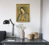 """Immagine di 'Quadro """"Madonna di Guadalupe"""" con lamina oro e cornice dorata - dimensioni 44x34 cm'"""