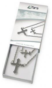 Copertina di 'Confezione con catenina e croce trilobata doppia in acciaio inox'