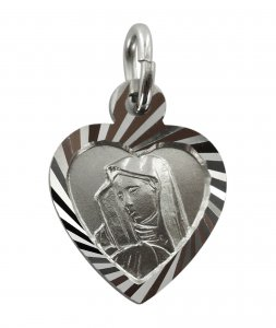Copertina di 'Medaglia Madonna Addolorata in argento 925 a forma di cuore - 1,4 cm'