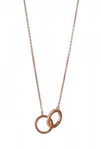 Copertina di 'Collana con due anelli intrecciati con strass in argento 925 con bagno in oro rosa'