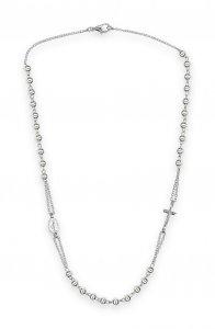 Copertina di 'Collana rosario con grani lisci 3 mm. in argento 925'