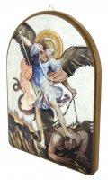 Immagine di 'Tavola San Michele stampa su legno ad arco - 15 x 20 cm'