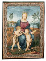 """Arazzo sacro """"Madonna del Cardellino"""" - dimensioni 33x25 cm - Raffaello Sanzio"""
