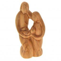 """Copertina di 'Statua in legno d'ulivo """"Sacra famiglia""""  - altezza 15 cm'"""